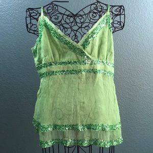 Bebe Silk Sequin V-Neck Green Tank Top